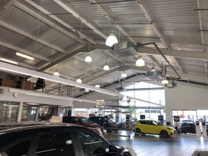 Car showroom ceiling air conditioning