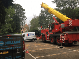 Crane lift HVAC equipment in Leamington Sap