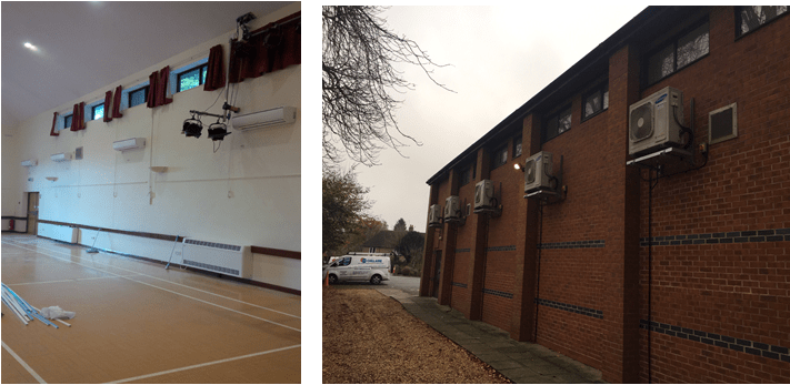 Samsung heat pump air conditioning at Dunchurch Village Hall near Rugby